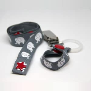 By Claudia - Set with Toy Strap and Dummy Holder, Grey Elephants