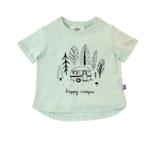 Bumble & Bee Organic Kidswear - Light Green Tee for Kids, Caravan Print