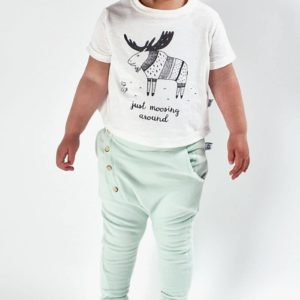 Bumble & Bee Organic Kidswear - White T-shirt with Moose & Green Pants