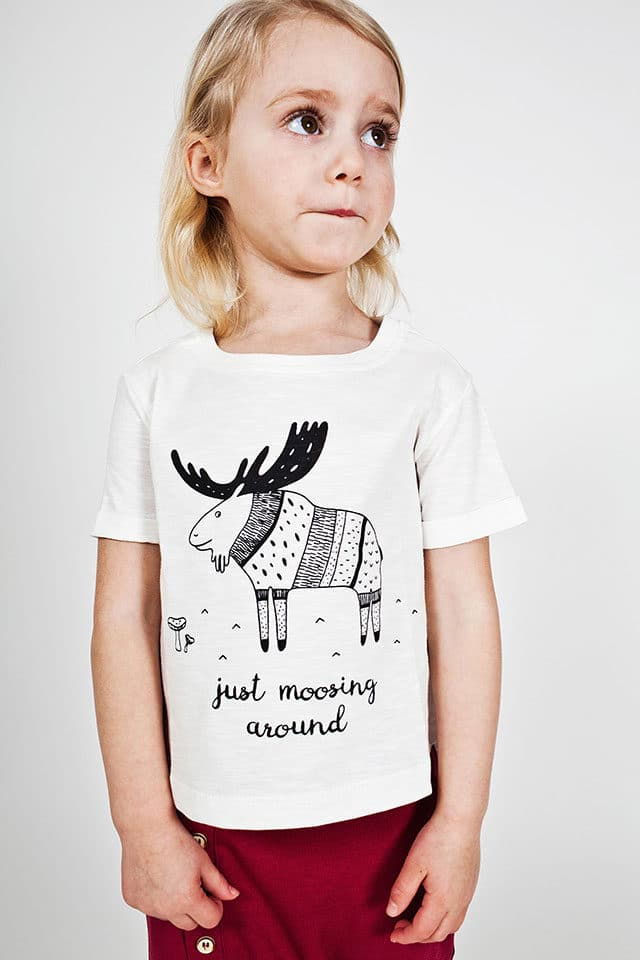 Bumble & Bee Organic Kidswear - White T-shirt with Moose & Red Pants
