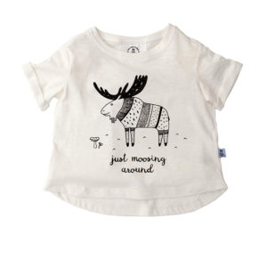 Bumble & Bee Organic Kidswear - White T-shirt with Moose