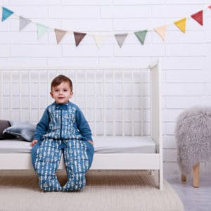 ergoPouch - Organic Sleep Suit, Midnight Arrow, Child Sitting