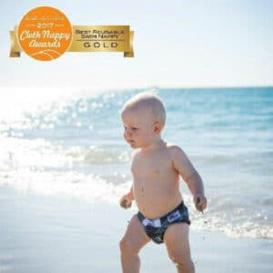 Baby BeeHinds Cloth Nappies - Baby on the Beach with Swim Nappy Astronaut