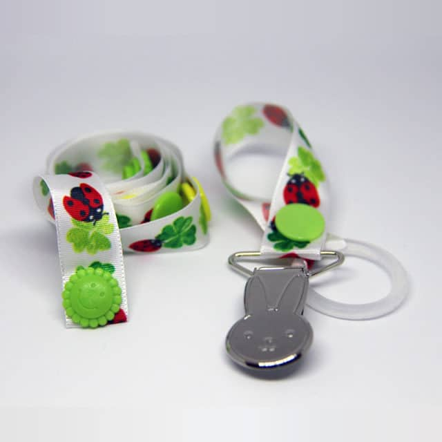 By Claudia - Set With Toy Strap and Dummy Holder, Ladybird