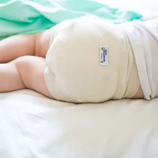 Baby BeeHinds Cloth Nappies - Wool Cover on Child