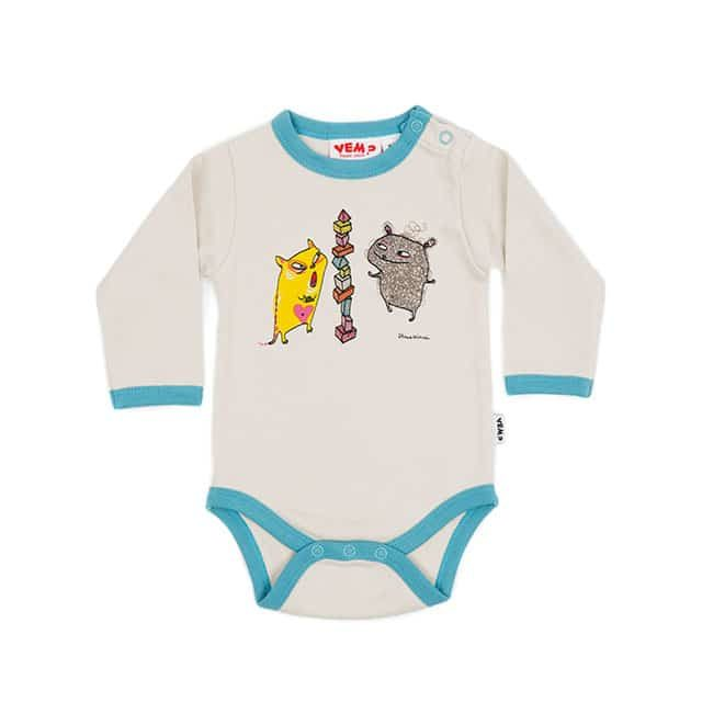 Who? by Stina Wirsén - Organic romper with Cat and Teddy
