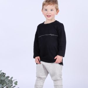 Mickey Rose Organic Kids Wear - Black Long Sleeve T-shirt & Tracksuit Pants, Poet