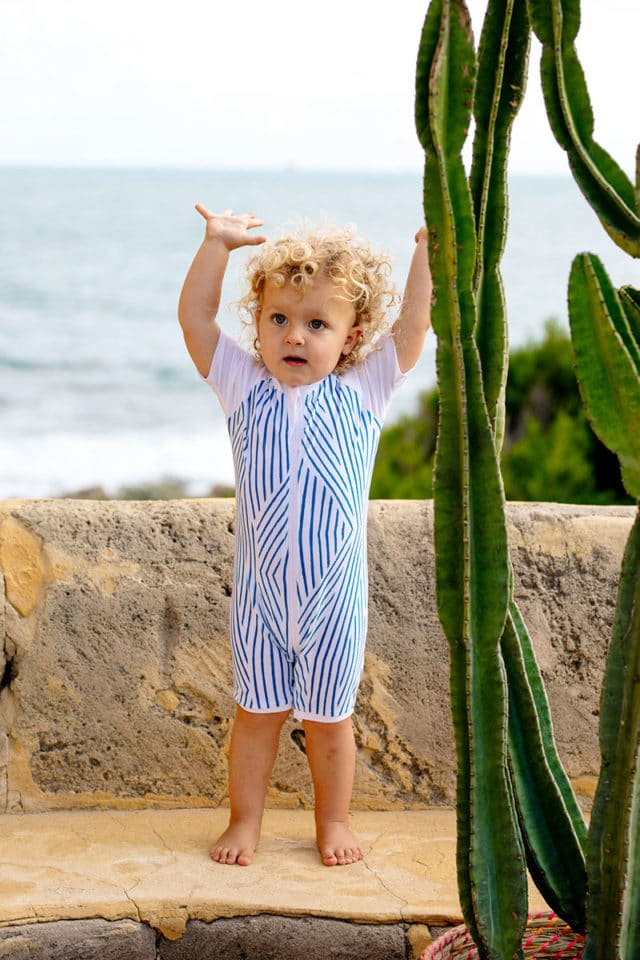 Elle Evans Sustainable Swimwear - UV suit from regenerated lycra, Stripe