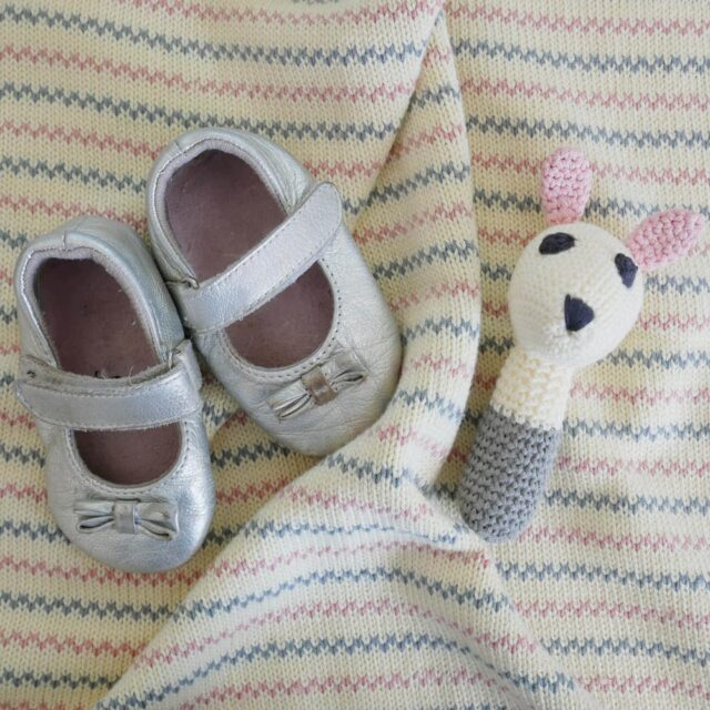 Sarah White Rabbit Rattle and Shoes